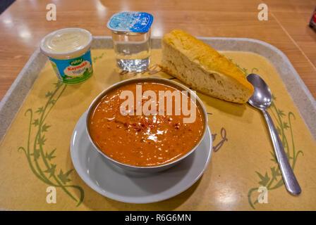 Ezogelin Corbasi, red lentil soup, Istanbul, Turkey, Eurasia - Stock Image