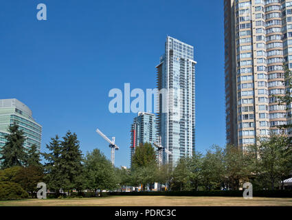 Condo towers in the Metrotown area of Burnaby, BC, Canada.  High rise apartment buildings in Greater Vancouver, Canada. - Stock Image