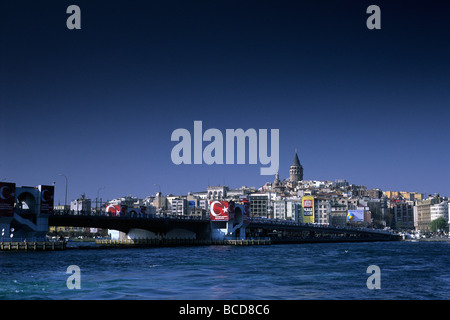 View across the Golden Horn towards the Galata bridge and Galata tower Istanbul - Stock Image