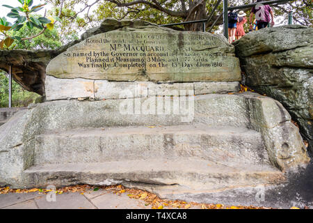 Mrs Macqurie's Chair (1810) is a bench cut into exposed sandstone on Mrs Macqurie's Point in the The Domain, Sydney, NSW, Australia. - Stock Image