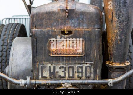 Bielsko-Biala, Poland. 12th Aug, 2017. International automotive trade fairs - MotoShow Bielsko-Biala. Front of an old Lanz Bulldog german tractor. Credit: Lukasz Obermann/Alamy Live News - Stock Image