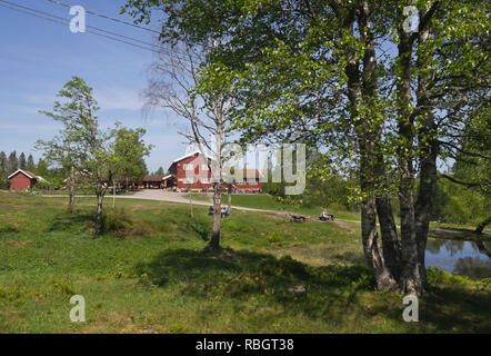 Ullevålseter cabin in the Nordmarka forest around Oslo Norway is a popular hiking goal with food and refreshments on offer inside or outdoors - Stock Image