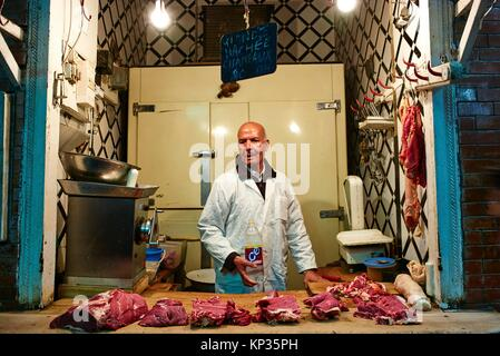 Butcher´s shop selling camel meat in the souk of Meknes, Morocco - Stock Image