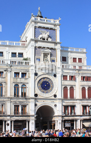 Torre dell'Orologio - The Clock Tower at San Marco square, Venice, Italy - Stock Image