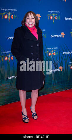 London, United Kingdom. 16 January 2019. Didi Conn arrives for the red carpet premiere of Cirque Du Soleil's 'Totem' held at The Royal Albert Hall. Credit: Peter Manning/Alamy Live News - Stock Image