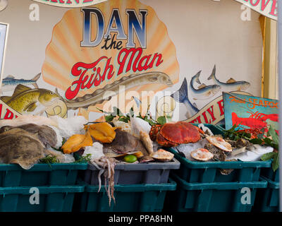 Fresh fish and seafood on display at a colourful stall during Plymouth Seefood festival 2018 - Stock Image