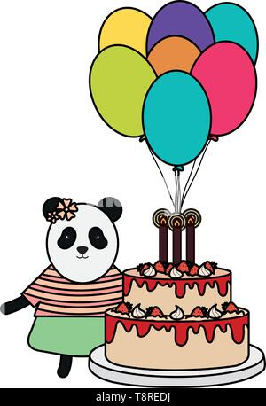cute bear panda sweet cake in birthday party vector illustration design - Stock Image