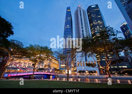 Asia singapur skyline panorama, Fullerton Hotel - Stock Image