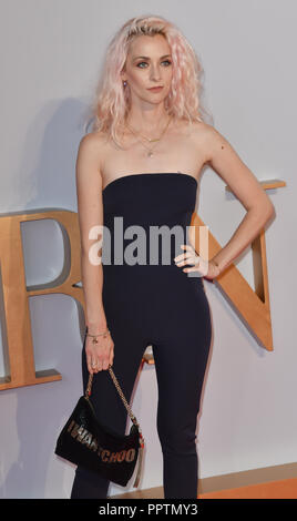 London, UK. 27th September 2018. Portia Freeman attend A Star Is Born UK Premiere at Vue Cinemas, Leicester Square, London, UK 27 September 2018. Credit: Picture Capital/Alamy Live News - Stock Image