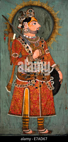 A wall painting in the Juna Mahal in Dungarpur, Rajasthan, India - Stock Image