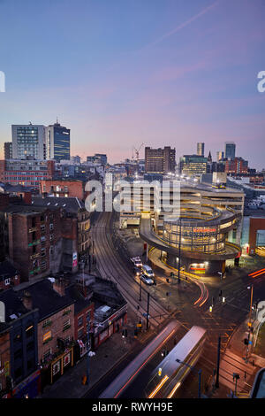 Dawn first light Manchester skyline from above looking over the Northern Quarter and the Arndale carpark - Stock Image