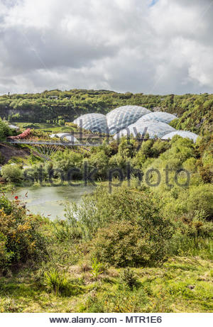 View over the Eden Project compound in Cornwall, England, UK - Stock Image
