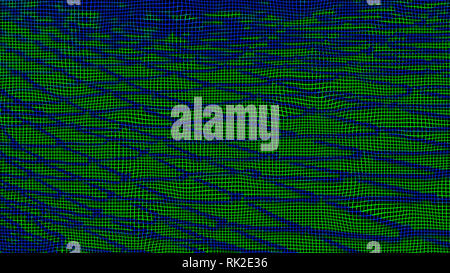 Abstract wavy texture of blue net and green grid. Modern artistic technical background. Network lines and nodes. Technological trap. Digitization idea. - Stock Image