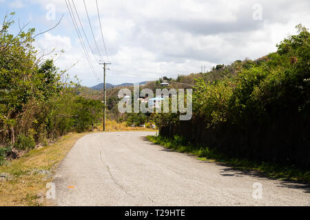 Road in St Lucia, The Caribbean - Stock Image