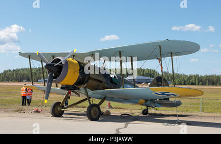 Gloster Gauntlet Mk II served the Finnish Air Force as a trainer in the Continuation War – here displayed in the 100 years Air Show of the FAF. - Stock Image