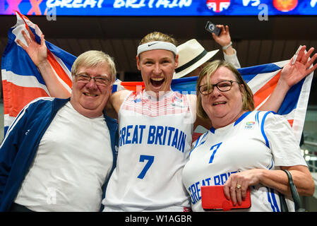Riga, Latvia. 1st of July, 2019. Rachael Vanderwal (C) with her parents. Great Britain's Women's basketball team celebrates win against Montenegro, during qualification match to 1/4 final at  FIBA Women's Eurobasket 2019 in Riga , Latvia. Credit: Gints Ivuskans/Alamy Live News - Stock Image