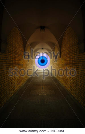 Tunnel vision tunnel and eye - Stock Image