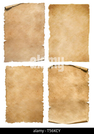 Vertical old parchment sheets set isolated on white - Stock Image