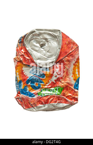 Flattened soft drink can - cut-out - Stock Image