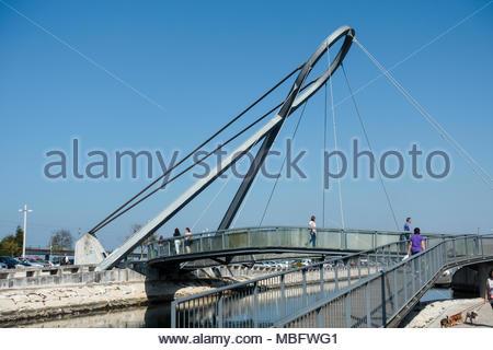 Ponte Pedonal Circular bridge in Aveiro Portugal, it is a pedestrian bridge - Stock Image