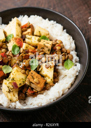 Sweet sour lentils with fresh pineapple and smokey tofu served on rice. - Stock Image