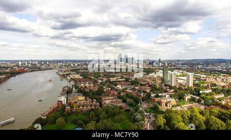 South East London Aerial City View around Canada Water, Surrey Quays feat. Suburban Neighborhood Rotherhithe, Bermondsey, Southwark Skyline - Stock Image