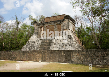 North Temple aka Temple of the Bearded Man at the North End of the Great Ballcourt, Juego Pelota, Chichen Itza, - Stock Image