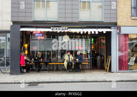 Fuckoffee vegan-friendly restaurant and cafe, Bermondsey Street, London, SE1, UK - Stock Image