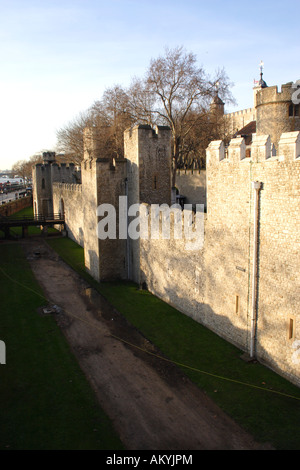 Walls of the Tower of London - Stock Image