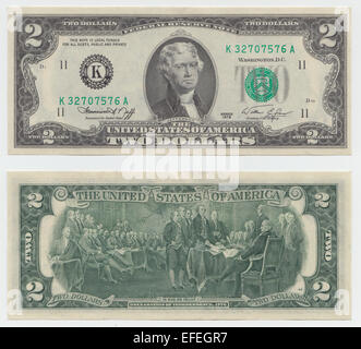 1976 United States 2 dollar bill featuring Jefferson on the front and The Signing of the Declaration of Independence - Stock Image