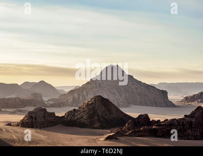 Landscape of Wadi Rum, aerial view from a balloon, Aqaba Governorate, Jordan - Stock Image