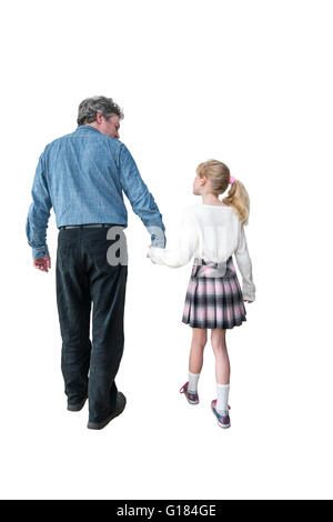 father and daughter walking, back to camera,whiteout,cutout, - Stock Image