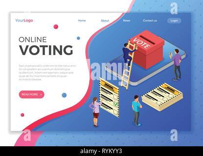 Online Internet Voting Isometric Concept - Stock Image