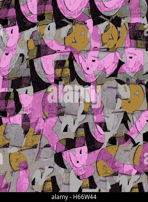 Face in a Crowd. Original acrylic painting digitally adjusted. - Stock Image