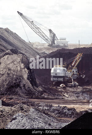 Coal surface mine, Bucyrus Electric Shovel excavating coal seam, shovel working in distance. - Stock Image
