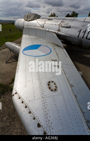 Duralumin airframe on retired Mikoyan-Gurevich MiG-19PM aircraft, ex Czech Air Force, Vyskov base - Stock Image