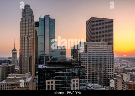 Minneapolis, Minnesota skyline at sunset as seen from the 30th floor of the 365 Nicollet apartment tower. - Stock Image