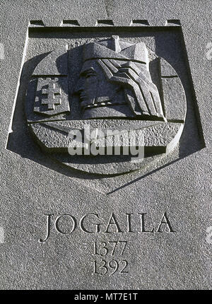 Jogaila (Vilna, c. 1353-Grodek, 1434). King of Lithuania (1377-1392). Grand Duke of Lithuania (1377-1434) and the king of Poland (1386-1434). Jagiellon dynasty. He born a pagan, in 1386 he converted to Catholicism and was baptized as Wladyslaw in Krakow. Relief at the base of the monument of the Grand Duke Gediminas. Vilna, Lithuania. - Stock Image