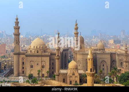 Aerial view of Cairo city from Salah Al Deen Citadel (Cairo Citadel) with Al Sultan Hassan and Al Rifai Mosques, Cairo, Egypt - Stock Image
