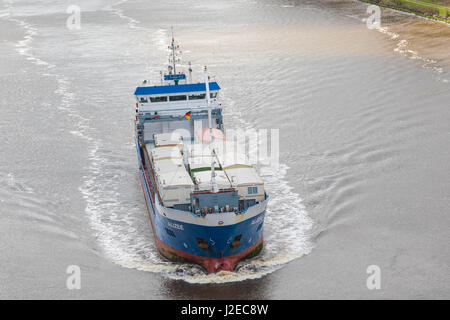 Albersdorf, Germany, April 15, 2017, Transport ship 'Alizee' in the North Sea Baltic Canal, in german language - Stock Image