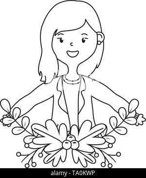 Teenager girl design, Female people young teen beautiful and woman theme Vector illustration - Stock Image