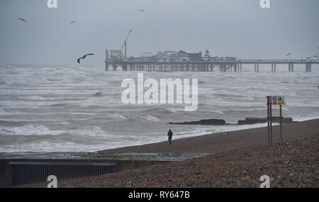 Brighton, UK. 12th Mar, 2019. A lone dog walker on Brighton Beach this morning as Storm Gareth starts to batter parts of Britain and Ireland Credit: Simon Dack/Alamy Live News - Stock Image