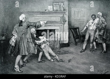 British commander Captain Tollemache is run through and killed in a duel with Captain Pennington at The City Arms - Stock Image