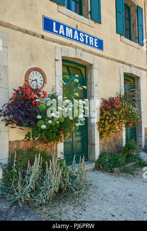 Lamastre railway station in the Ardeche department, Rhone Alps region, France - Stock Image
