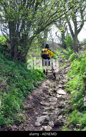 Bike riding Biking during High Peak Trail Peak District Derbyshire Great Britain - Stock Image