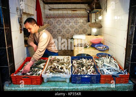 Selling fresh fishes in the medina of Fez, Morocco - Stock Image