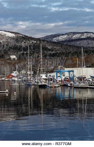 Harbor in Winter, Camden, Maine, USA - Stock Image