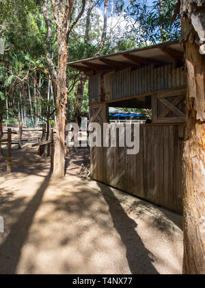 Wooden Hut Amongst The Trees At A Wildlife Reserve - Stock Image