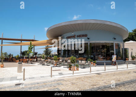 New public viewing area and cafe just off Nikodimou Mylona street in Paphos old town, Cyprus. - Stock Image