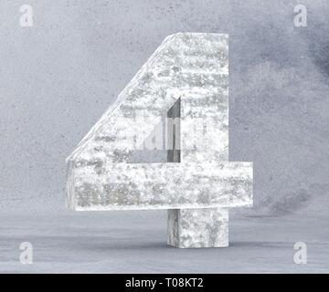 3D rendering concrete number 4 four. 3D render Illustration. - Stock Image